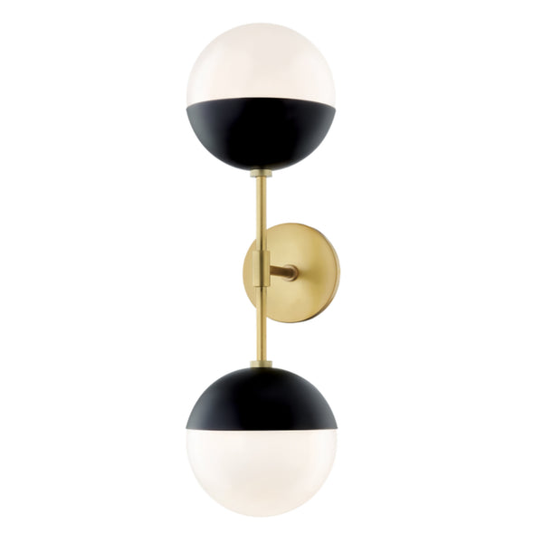 Mitzi by Hudson Valley Lighting H344102A-AGB/BK Renee 2 Light Wall Sconce in Aged Brass/Black