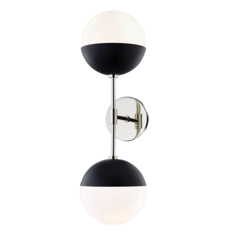 Mitzi by Hudson Valley Lighting H344102A-PN/BK Renee 2 Light Wall Sconce in Polished Nickel/Black