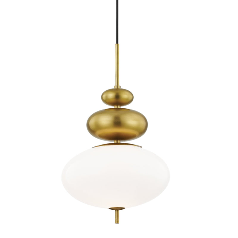 Mitzi by Hudson Valley Lighting H347701-AGB Elsie 1 Light Pendant in Aged Brass