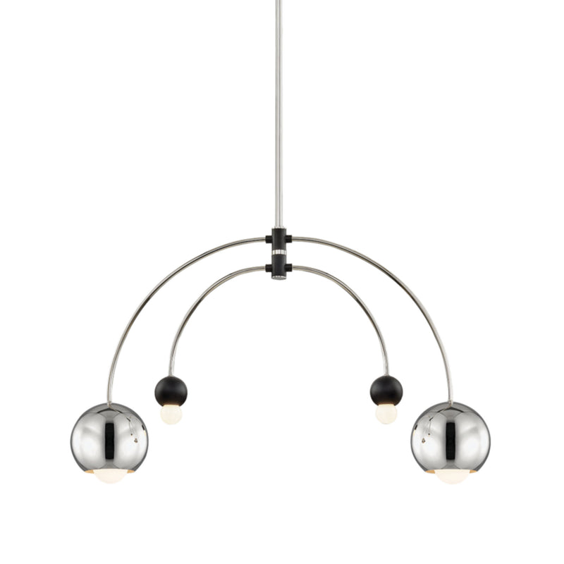 Mitzi by Hudson Valley Lighting H348804-PN/BK Willow 4 Light Chandelier in Polished Nickel/Black