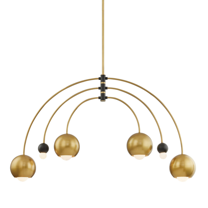 Mitzi by Hudson Valley Lighting H348806-AGB/BK Willow 6 Light Chandelier in Aged Brass/Black