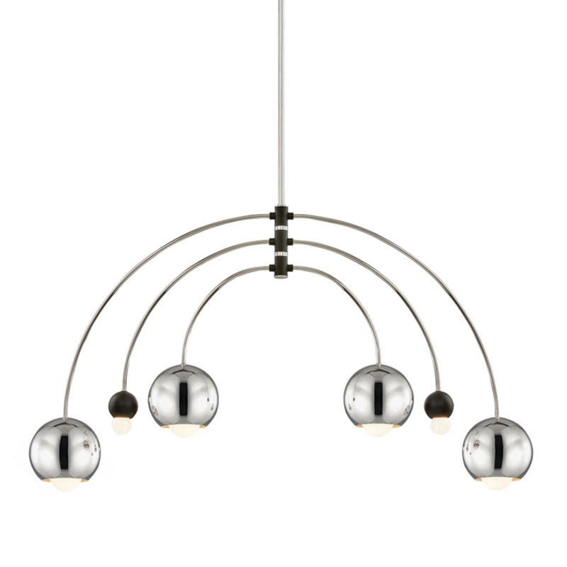 Mitzi by Hudson Valley Lighting H348806-PN/BK Willow 6 Light Chandelier in Polished Nickel/Black