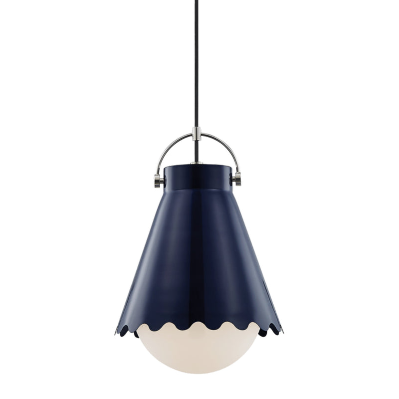 Mitzi by Hudson Valley Lighting H351701L-PN/NVY Lauryn 1 Light Large Pendant in Polished Nickel/Navy