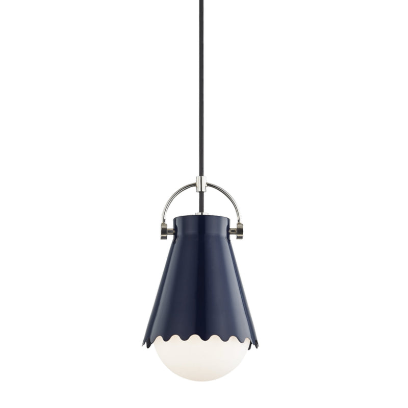 Mitzi by Hudson Valley Lighting H351701S-PN/NVY Lauryn 1 Light Small Pendant in Polished Nickel/Navy