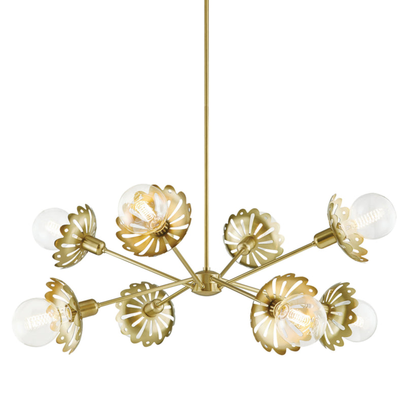 Mitzi by Hudson Valley Lighting H353808-AGB Alyssa 8 Light Chandelier in Aged Brass