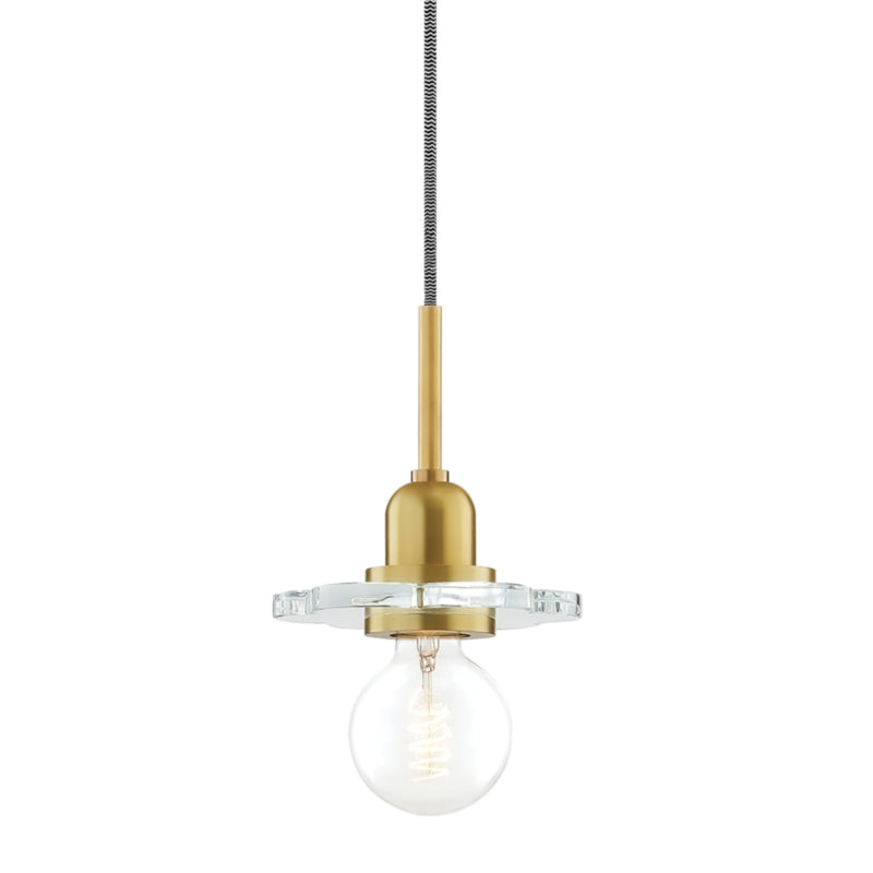 Mitzi by Hudson Valley Lighting H357701-AGB Alexa 1 Light Pendant in Aged Brass