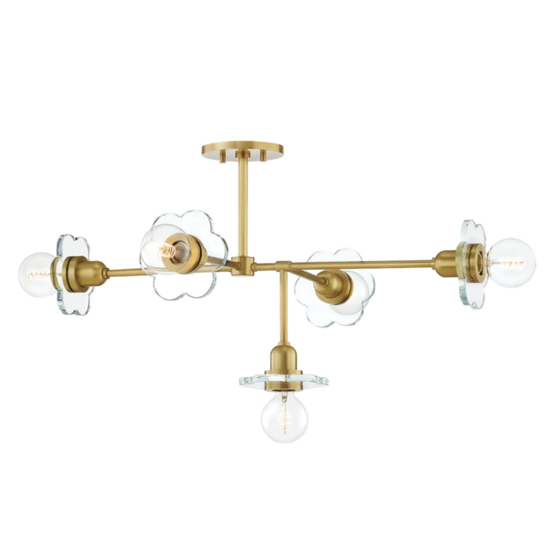 Mitzi by Hudson Valley Lighting H357805-AGB Alexa 5 Light Chandelier in Aged Brass