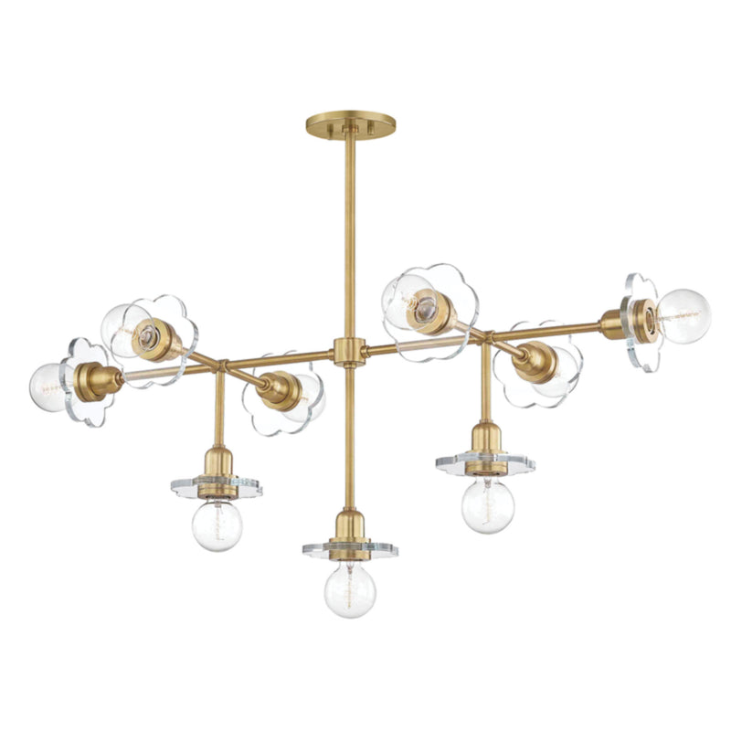 Mitzi by Hudson Valley Lighting H357809-AGB Alexa 9 Light Chandelier in Aged Brass