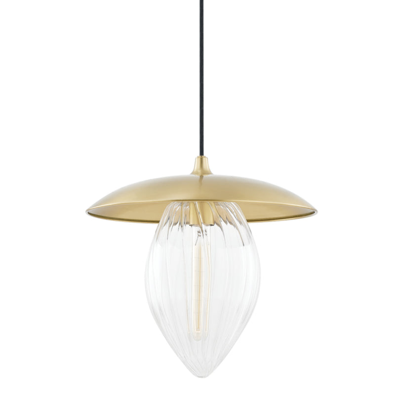 Mitzi by Hudson Valley Lighting H365701L-AGB Lilly 1 Light Large Pendant in Aged Brass