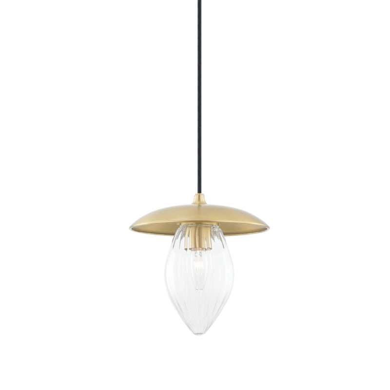 Mitzi by Hudson Valley Lighting H365701S-AGB Lilly 1 Light Small Pendant in Aged Brass