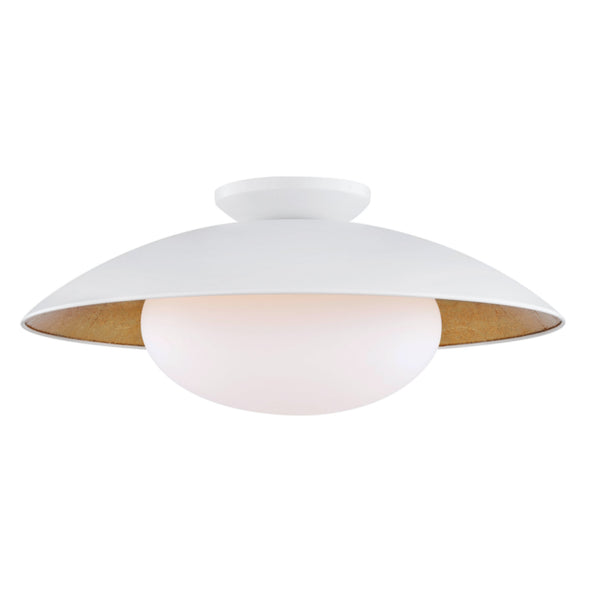 Mitzi by Hudson Valley Lighting H368601L-WH/GL Cadence 1 Light Large Semi Flush in White Lustro/Gold Leaf Combo