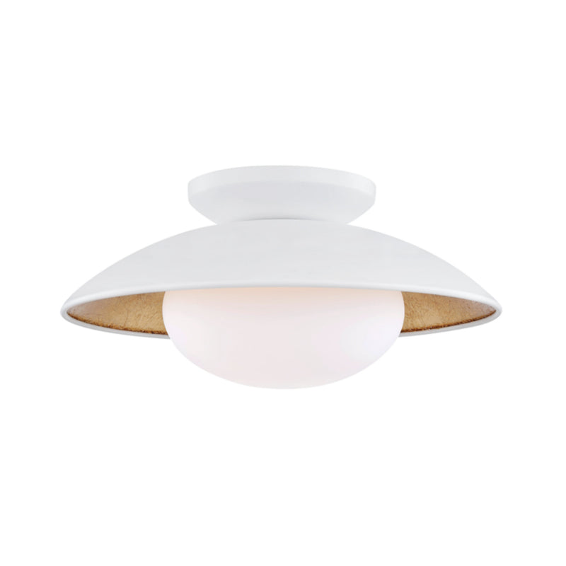 Mitzi by Hudson Valley Lighting H368601M-WH/GL Cadence 1 Light Medium Semi Flush in White Lustro/Gold Leaf Combo
