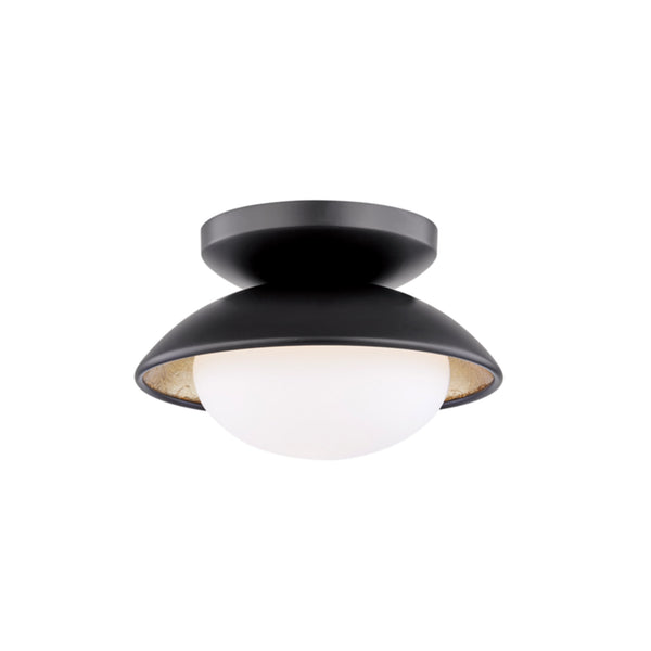 Mitzi by Hudson Valley Lighting H368601S-BLK/GL Cadence 1 Light Small Semi Flush in Black Lustro/Gold Leaf Combo