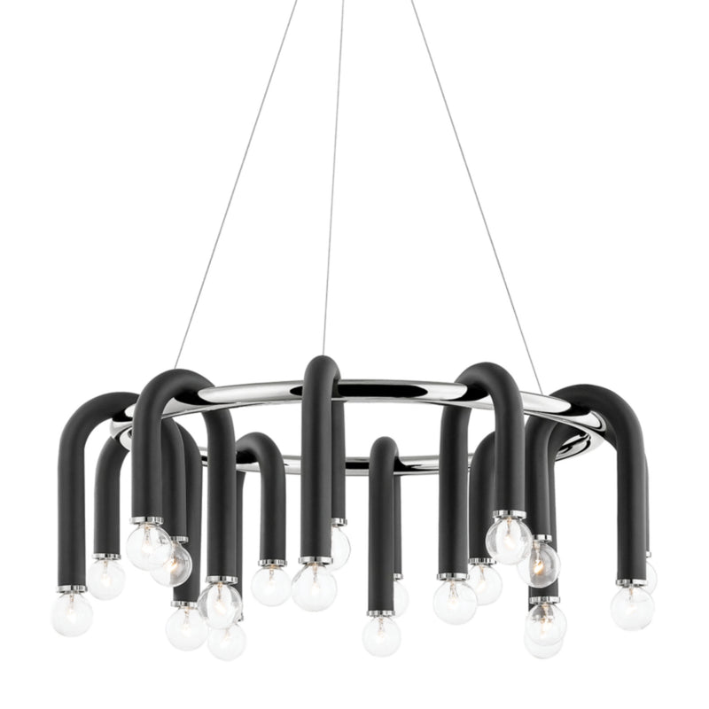 Mitzi by Hudson Valley Lighting H382820-PN/BK Wilt 20 Light Chandelier in Polished Nickel/Black