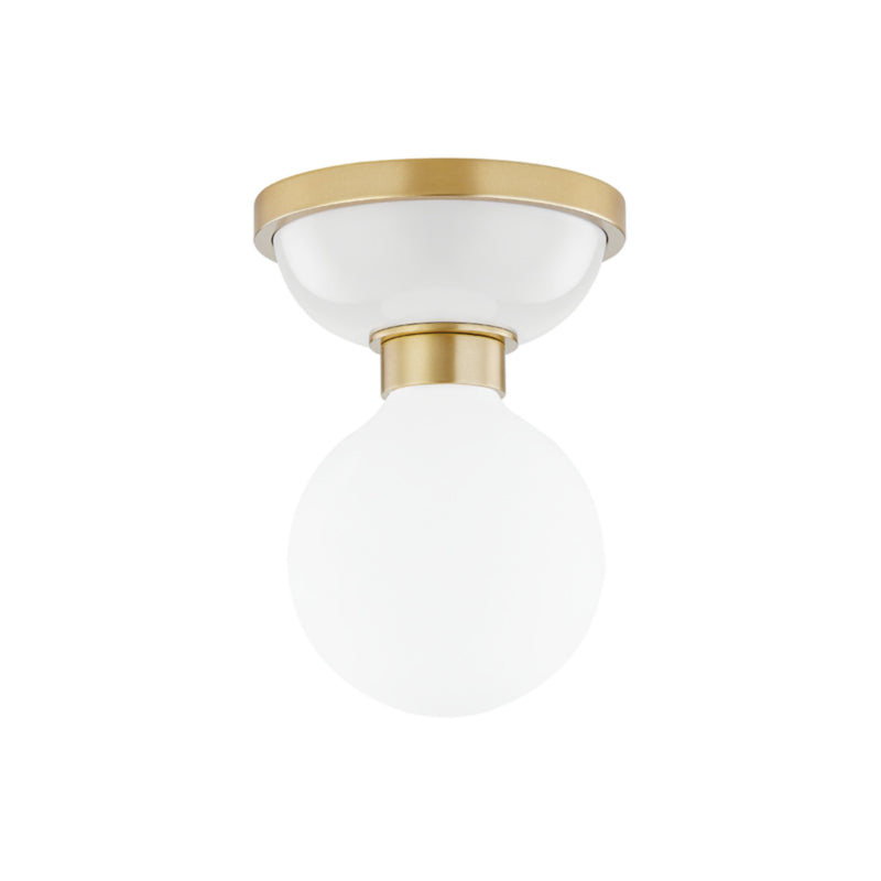 Mitzi by Hudson Valley Lighting H383501-AGB/DG Nina 1 Light Flush Mount in Aged Brass/Dove Gray Combo