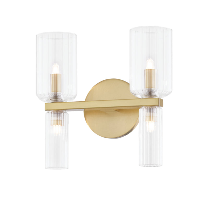 Mitzi by Hudson Valley Lighting H384302-AGB Tabitha 2 Light Bath Bracket in Aged Brass