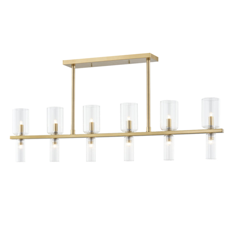 Mitzi by Hudson Valley Lighting H384912-AGB Tabitha 12 Light Island in Aged Brass