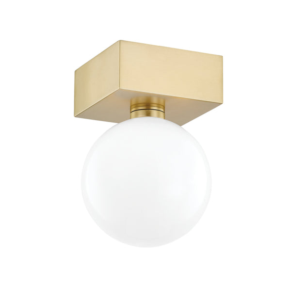 Mitzi by Hudson Valley Lighting H385501-AGB Aspyn 1 Light Flush Mount in Aged Brass