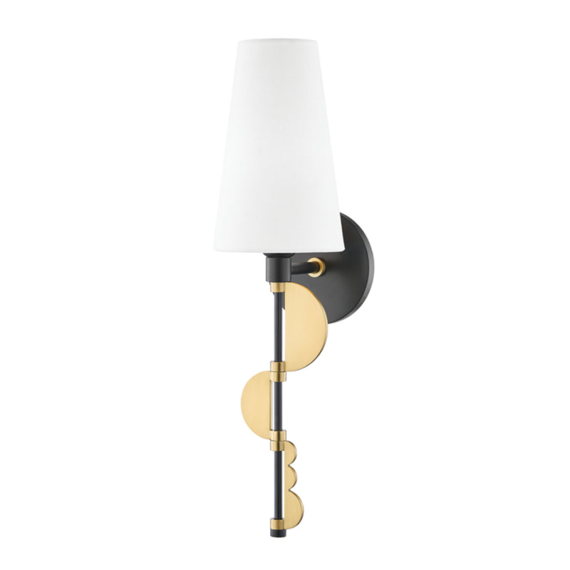 Mitzi by Hudson Valley Lighting H386101-AGB/BK Phoenix 1 Light Wall Sconce in Aged Brass/Black