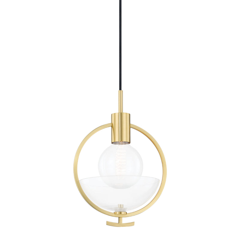 Mitzi by Hudson Valley Lighting H387701-AGB Ringo 1 Light Pendant in Aged Brass