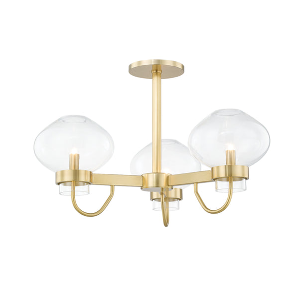 Mitzi by Hudson Valley Lighting H408603-AGB Korey 3 Light Semi Flush in Aged Brass