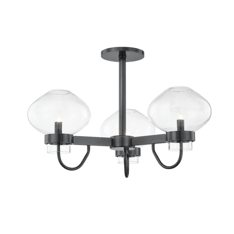 Mitzi by Hudson Valley Lighting H408603-OB Korey 3 Light Semi Flush in Old Bronze