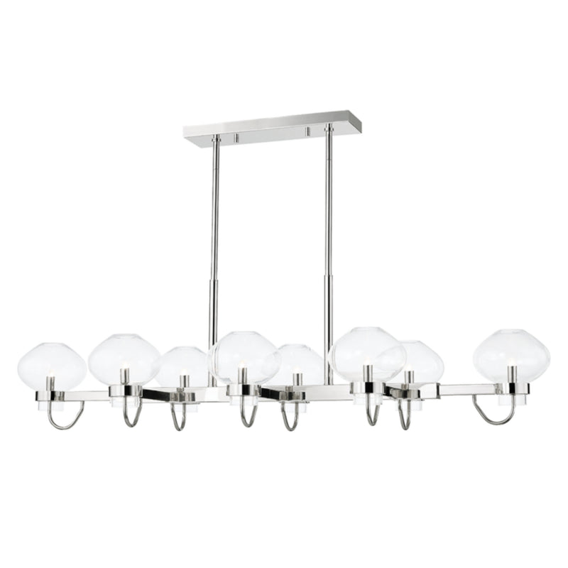Mitzi by Hudson Valley Lighting H408908-PN Korey 8 Light Island in Polished Nickel