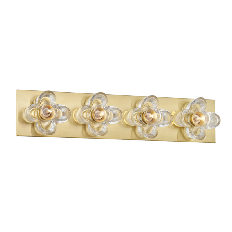 Mitzi by Hudson Valley Lighting H410304-AGB Shea 4 Light Bath Bracket in Aged Brass
