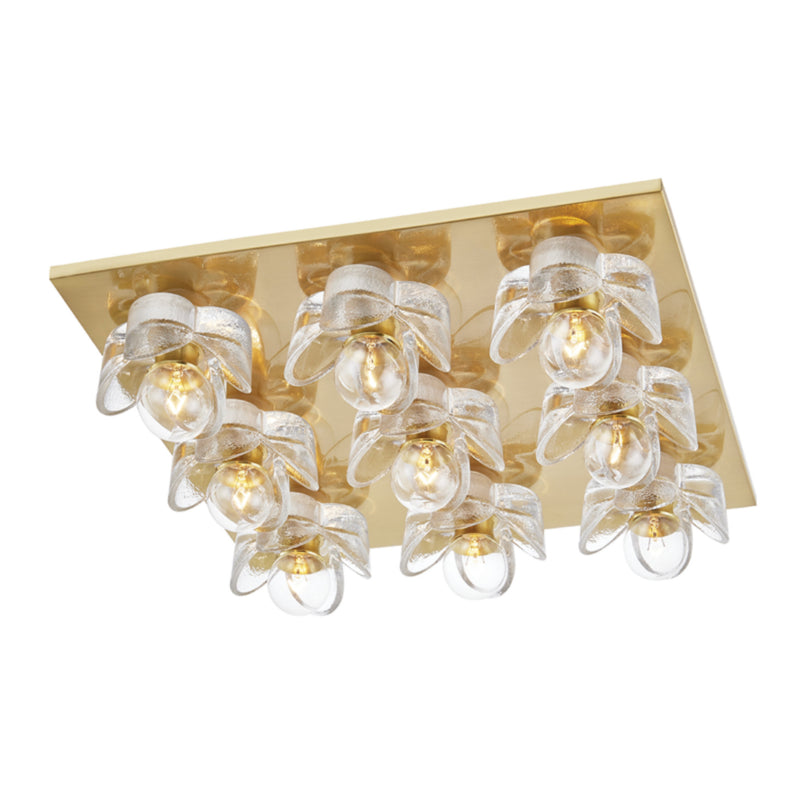 Mitzi by Hudson Valley Lighting H410509-AGB Shea 9 Light Flush Mount in Aged Brass
