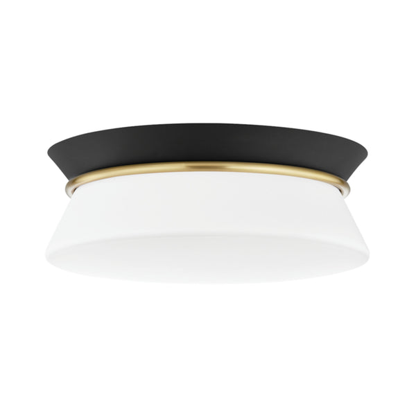 Mitzi by Hudson Valley Lighting H425502-AGB/BK Cath 1 Light Flush Mount in Aged Brass/Black