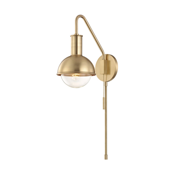 Mitzi by Hudson Valley Lighting HL111101-AGB Riley 1 Light Wall Sconce With Plug in Aged Brass