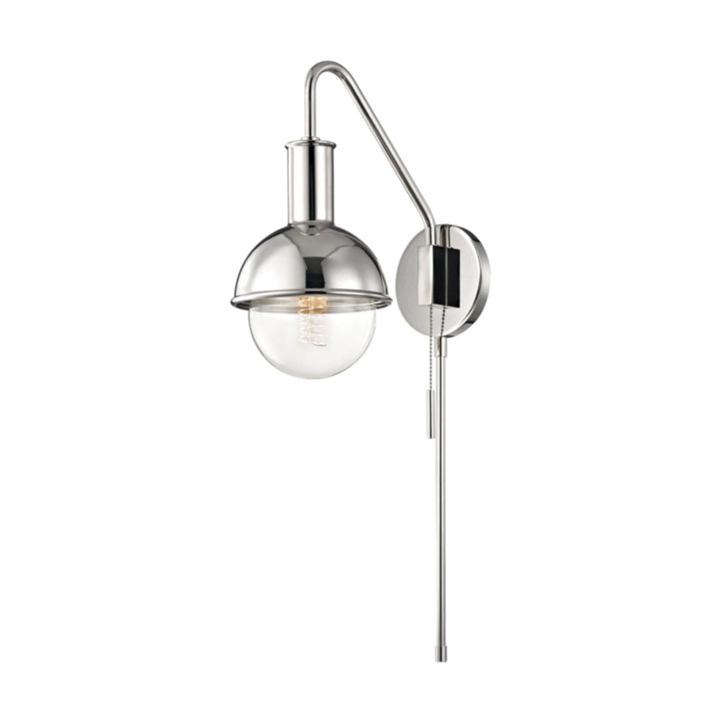 Mitzi by Hudson Valley Lighting HL111101-PN Riley 1 Light Wall Sconce With Plug in Polished Nickel