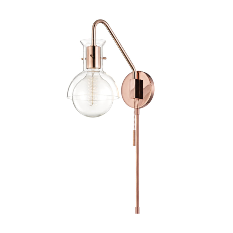 Mitzi by Hudson Valley Lighting HL111101G-POC Riley 1 Light Wall Sconce With Plug in Polished Copper