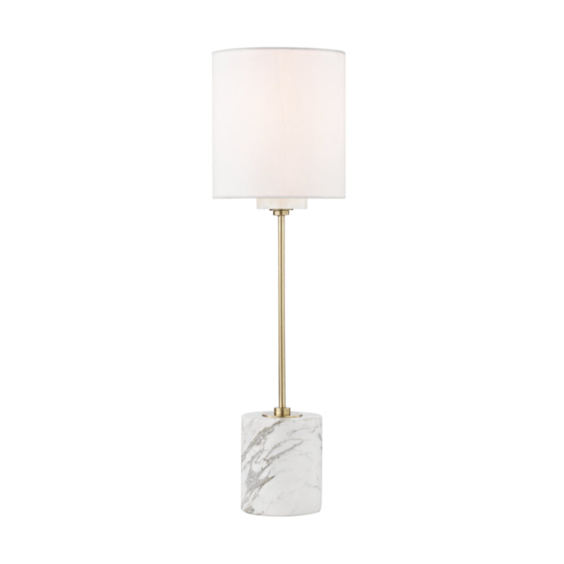 Mitzi by Hudson Valley Lighting HL153201-AGB Fiona 1 Light Table Lamp With A Marble Base in Aged Brass
