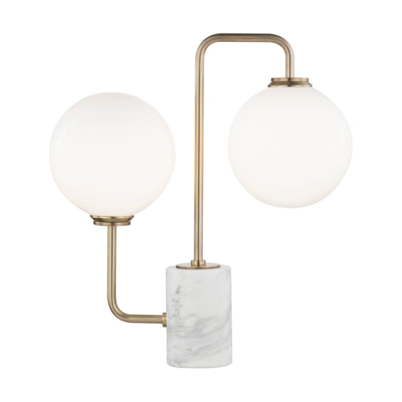 Mitzi by Hudson Valley Lighting HL170201-AGB Mia 2 Light Table Lamp With A Marble Base in Aged Brass