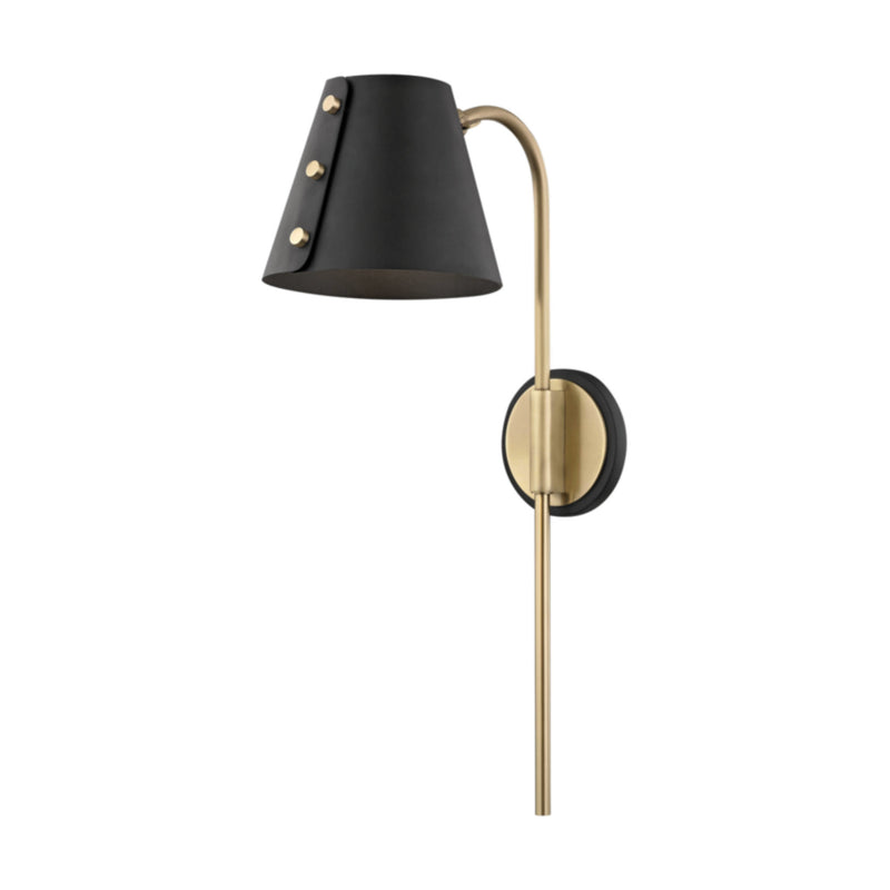 Mitzi by Hudson Valley Lighting HL174201-AGB/BK Meta 1 Light Wall Sconce With Plug in Aged Brass/Black