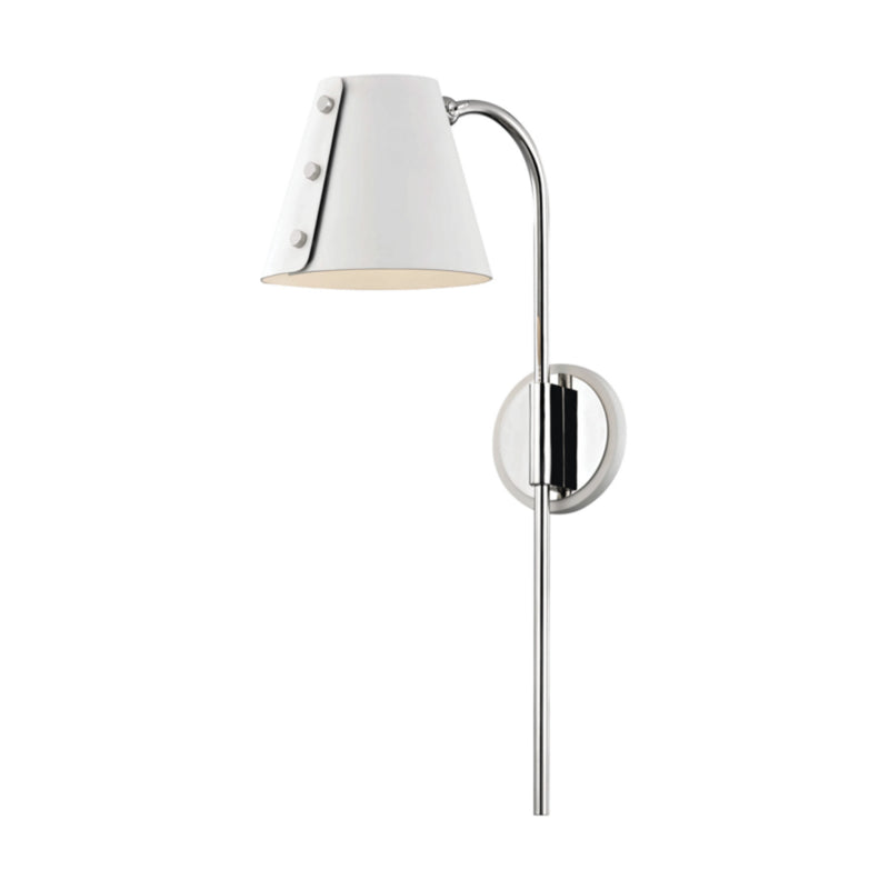 Mitzi by Hudson Valley Lighting HL174201-PN/WH Meta 1 Light Wall Sconce With Plug in Polished Nickel/White
