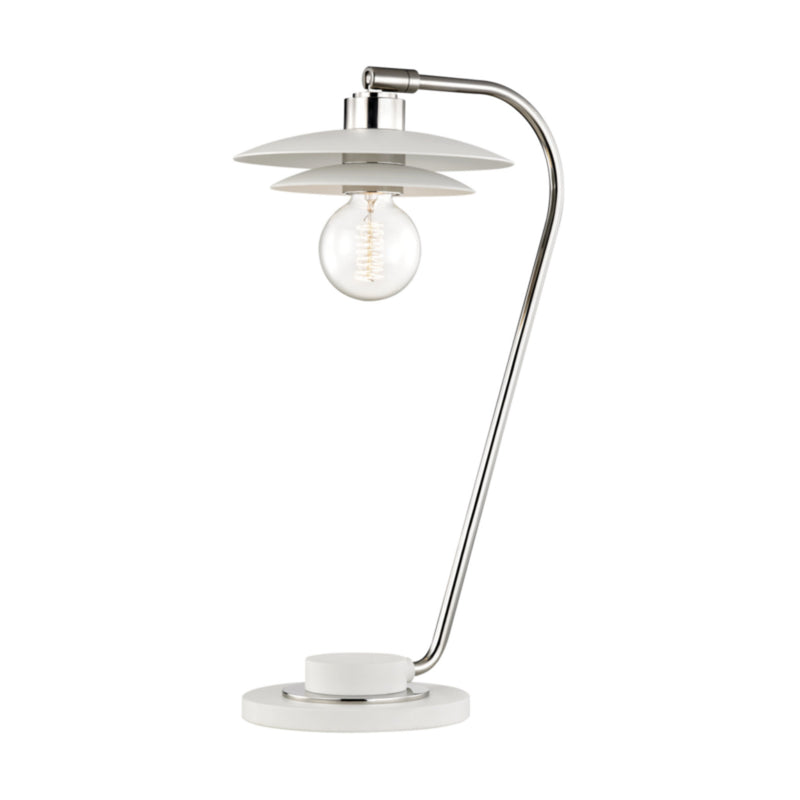 Mitzi by Hudson Valley Lighting HL175201-PN/WH Milla 1 Light Table Lamp With A Concrete Base in Polished Nickel/White