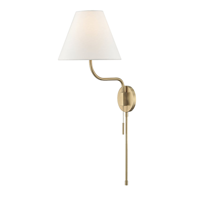 Mitzi by Hudson Valley Lighting HL240101-AGB Patti 1 Light Wall Sconce With Plug in Aged Brass