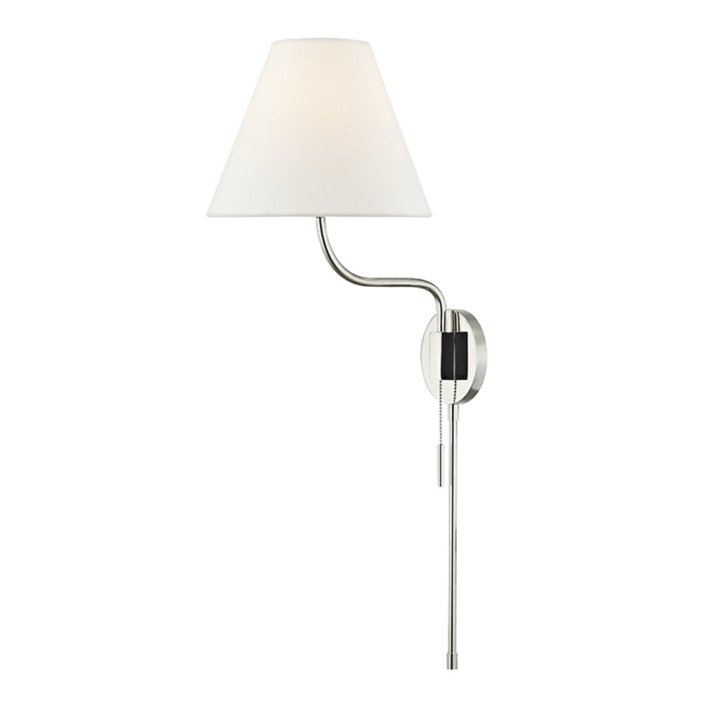 Mitzi by Hudson Valley Lighting HL240101-PN Patti 1 Light Wall Sconce With Plug in Polished Nickel