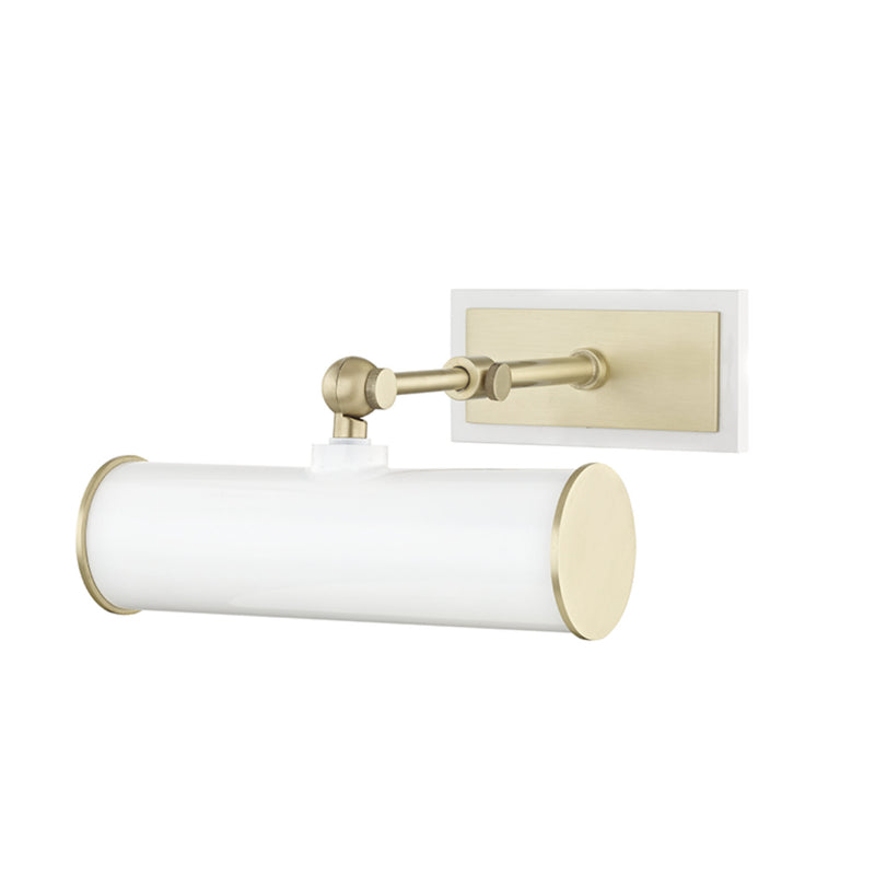 Mitzi by Hudson Valley Lighting HL263201-AGB/WH Holly 1 Light Picture Light With Plug in Aged Brass/White