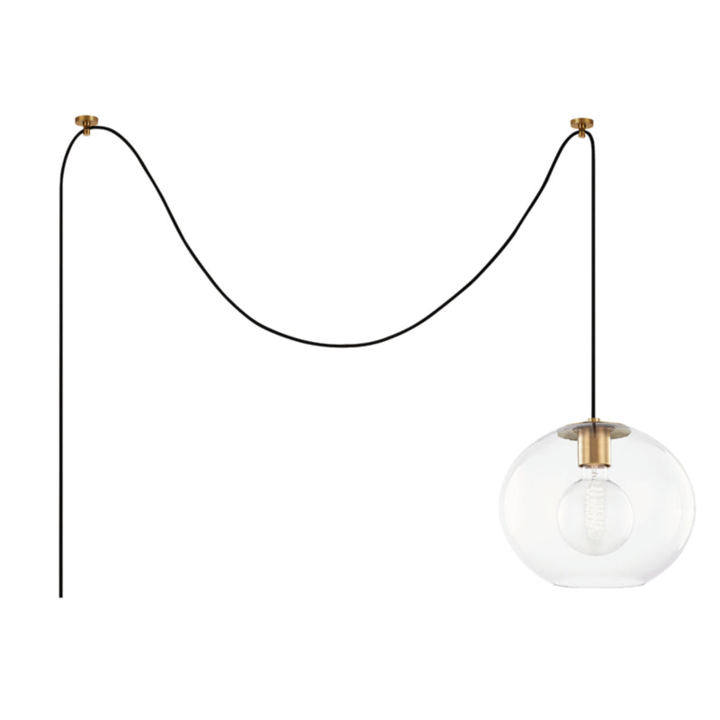 Mitzi by Hudson Valley Lighting HL270701L-AGB Margot 1 Light Large Swag Pendant in Aged Brass