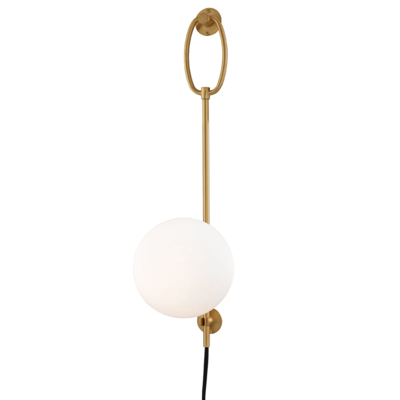Mitzi by Hudson Valley Lighting HL290101-AGB Gina 1 Light Wall Sconce With Plug in Aged Brass