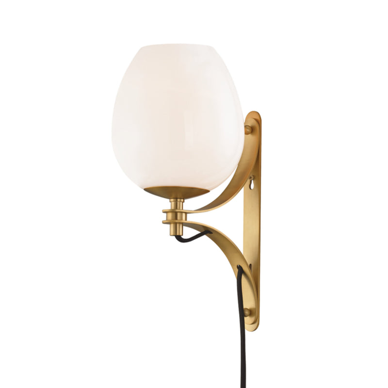 Mitzi by Hudson Valley Lighting HL291101-AGB Lindsay 1 Light Wall Sconce With Plug in Aged Brass