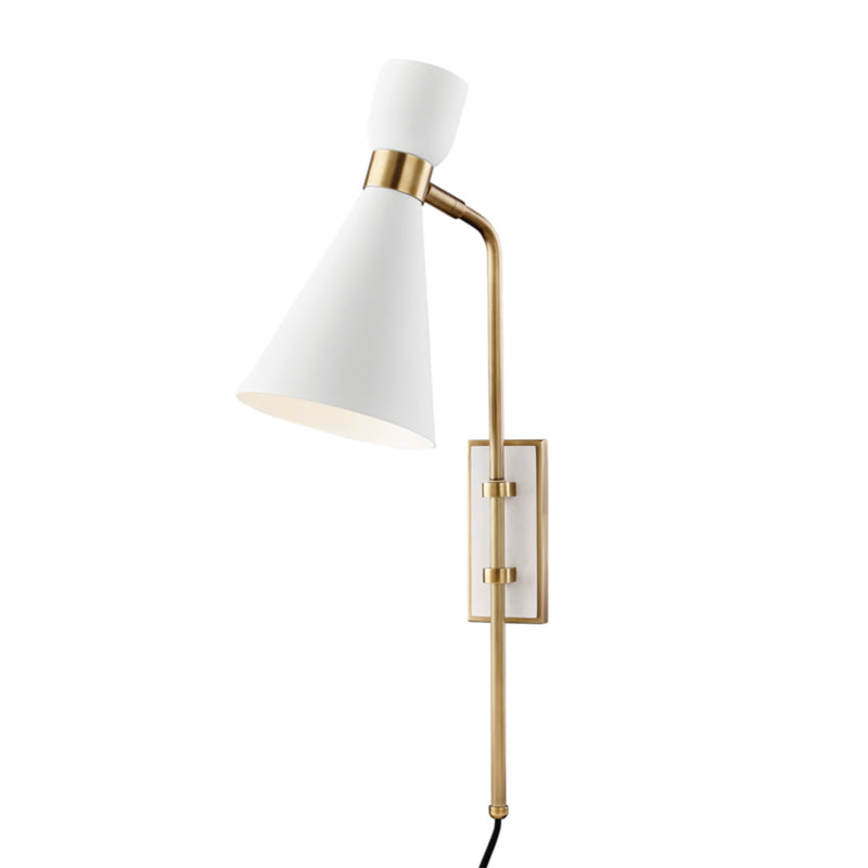 Mitzi by Hudson Valley Lighting HL295101-AGB/WH Willa 1 Light Wall Sconce With Plug in Aged Brass/White