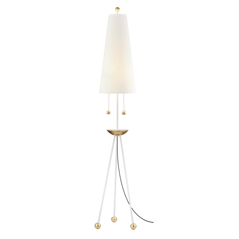 Mitzi by Hudson Valley Lighting HL321401-GL/WH Liza 2 Light Floor Lamp in Gold Leaf/White