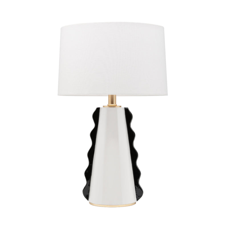 Mitzi by Hudson Valley Lighting HL337201-BW/GL Faith 1 Light Table Lamp in Black/White/Gold Leaf Combo