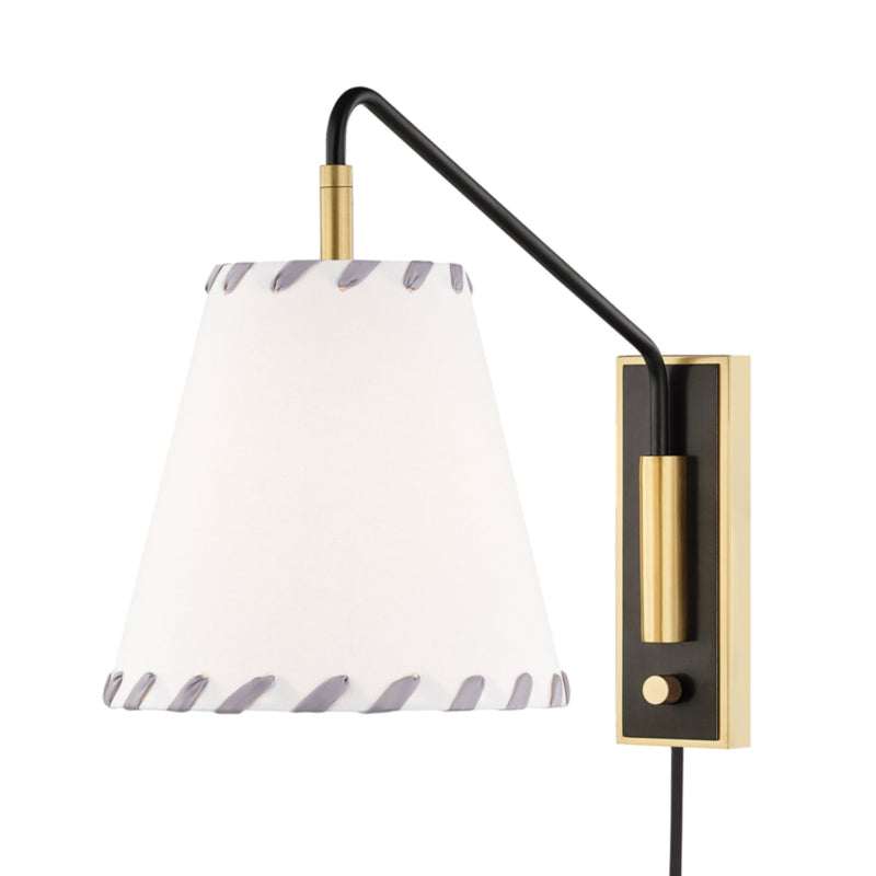 Mitzi by Hudson Valley Lighting HL372101-AOB Hannah 1 Light Wall Sconce With Plug in Aged Old Bronze