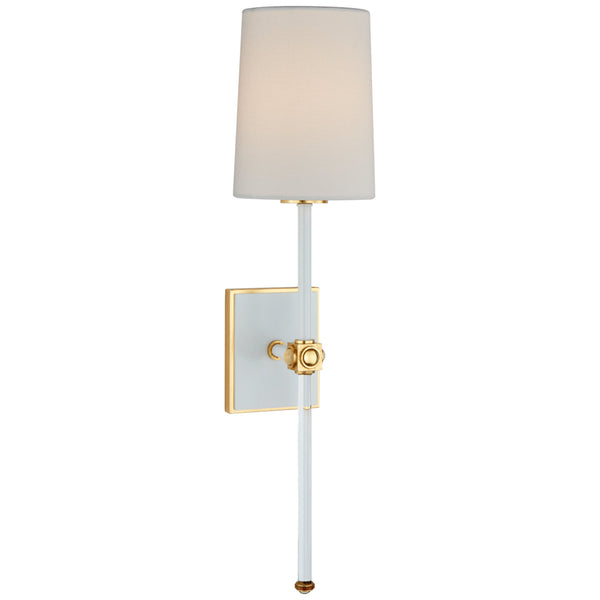 Visual Comfort JN 2051WHT/CG-L Julie Neill Lucia Medium Tail Sconce in White and Crystal