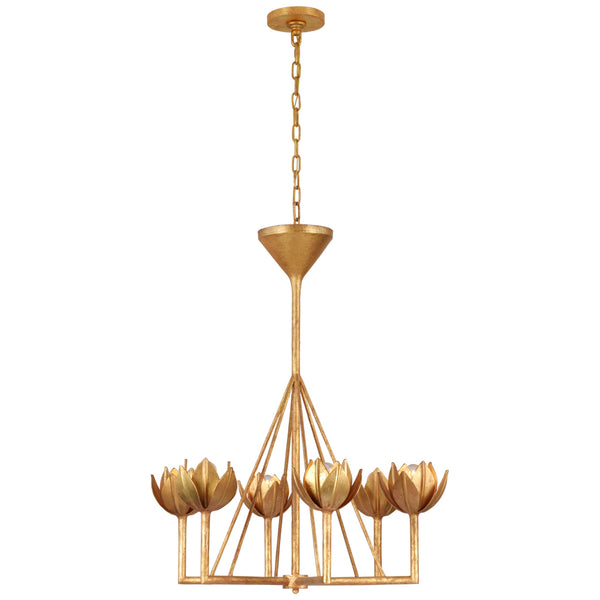 Visual Comfort JN 5003AGL Julie Neill Alberto Small Single Tier Chandelier in Antique Gold Leaf